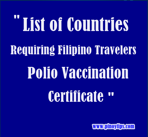 Countries Requiring Polio Vaccination Certificate